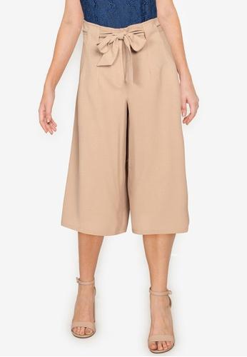 ZALORA WORK 褐色 Self Tie Wide Leg Culottes EC2C3AAF562333GS_1