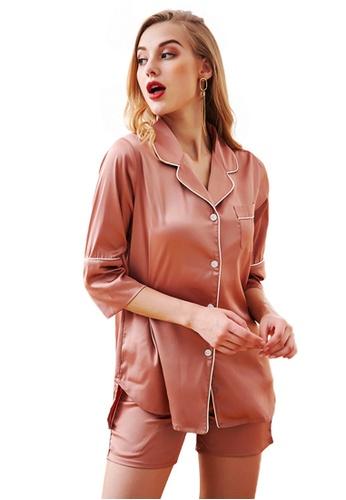 LYCKA 粉紅色 LCB8012-女士居家休閒睡衣兩件套-粉紅色 6553AAA71D2823GS_1