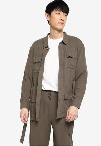 ZALORA BASICS green Linen Jacket with Tie Belt 7ACC8AAC878397GS_1