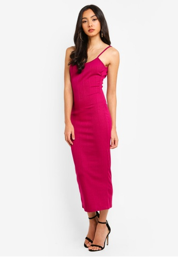 74dc21ef9157 MISSGUIDED pink Scoop Neck Strappy Bandage Midi Dress B76A4AA353F509GS 1