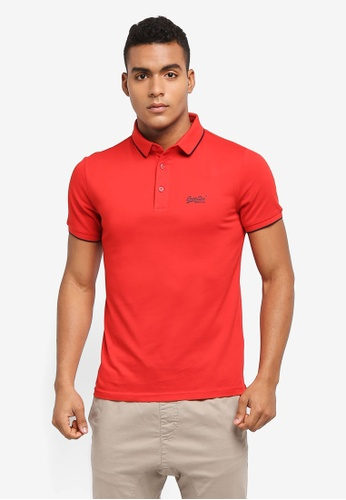 Superdry red CLASSIC LITE MICRO PIQUE POLO 0516AAAE047DB8GS_1