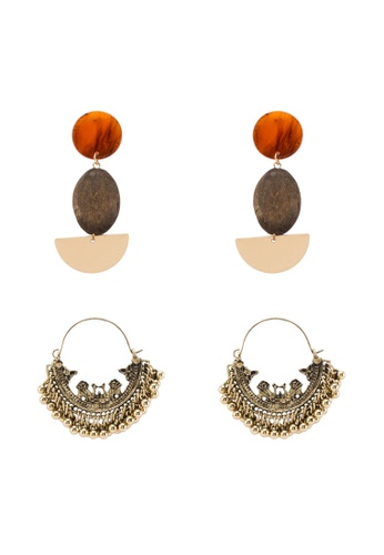 Red's Revenge brown 2-in-1 Bali Babe Dangle Earrings Set 4F55AAC4602FAEGS_1