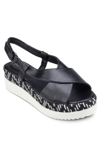 印花拼接厚底涼鞋、 女鞋、 楔形涼鞋Perllini&Mel印花拼接厚底涼鞋最新折價