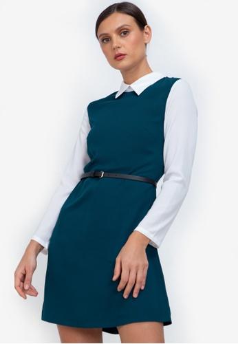 ZALORA WORK green Contrast Fit & Flare Dress 724D8AA08AA3E3GS_1