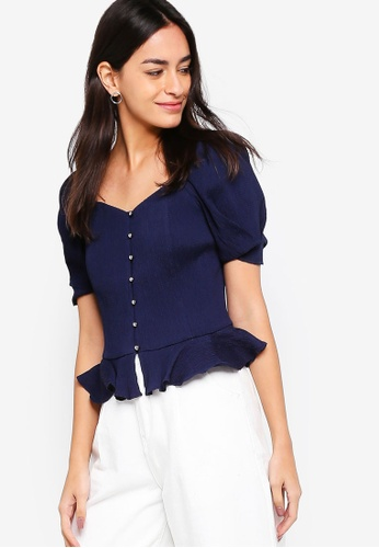 ZALORA navy Bustier Top With Puffy Sleeves 8FA44AA62ABF31GS_1