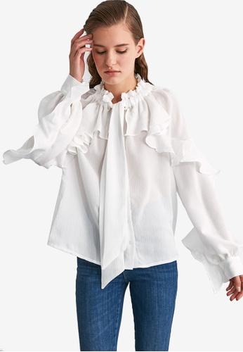 Trendyol white Ruffled Flounce Blouse 97B51AA52296F7GS_1