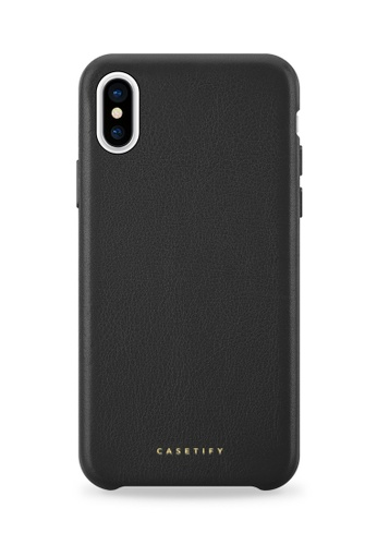 best value ad551 765f2 Premium Leather Snap Case for iPhone XS/ iPhone X - Black