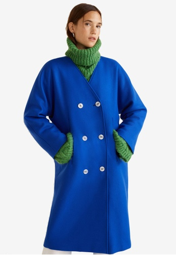 MANGO blue Unstructured Virgin Wool Coat BAD6FAA7CCE5E0GS_1