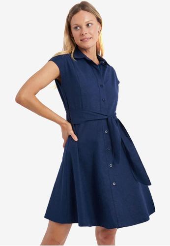 FORCAST blue Giana Linen Shirt Dress 1F858AA2EF2B5BGS_1