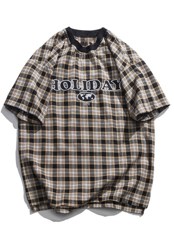 Twenty Eight Shoes Loose Embroidery Plaid T-shirt HH9017 A1747AA54023C4GS_1