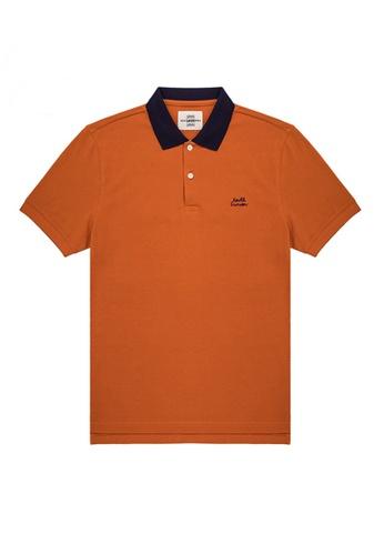 Kent and Curwen orange Colour Block Logo Embroidered Polo Shirt 6B2DFAA7442198GS_1