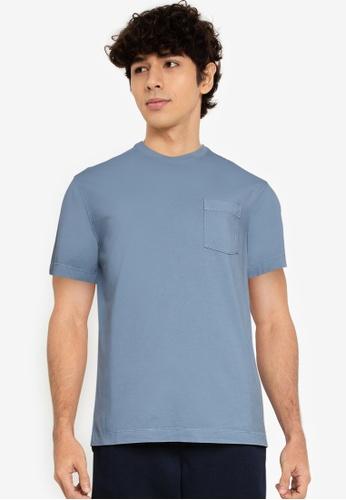 Banana Republic blue Authentic Gmt Dye Pocket Crew Tee FE828AA18B2D33GS_1