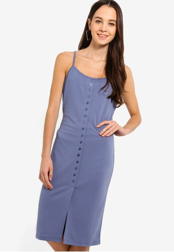 Something Borrowed blue Button Trim Cami Midi Dress 9891AAA615F544GS_1