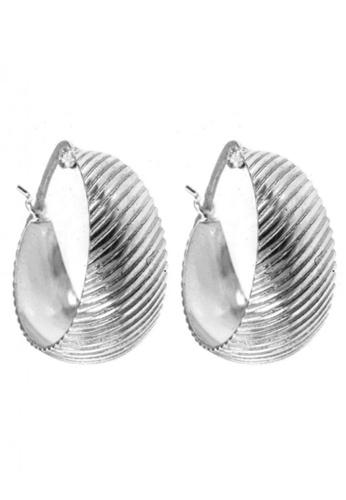 Silverworks silver Slanted Line Hoop Earrings SI696AC85IQGPH_1