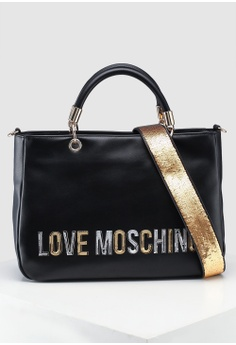 80aaea69f772 Love Moschino black Pebble Grain Top-Handle Bag 71D98ACA2001F2GS 1