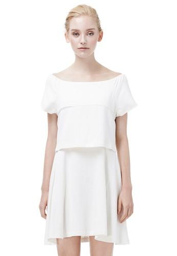 落肩假兩件洋裝、 服飾、 短洋裝VACAE落肩假兩件洋裝最新折價