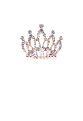 Glamorousky white Fashion and Elegant Plated Gold Crown Brooch with Cubic Zirconia D58BAAC9E0B614GS_1