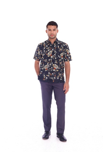 TUSCA blue Eusoff Classic Batik Shirt DA1B2AA3850ABEGS_1