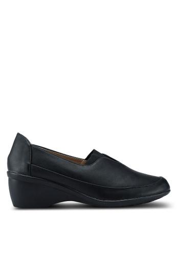 Noveni 黑色 楔形懶人樂福鞋 A550BSHD6F654AGS_1