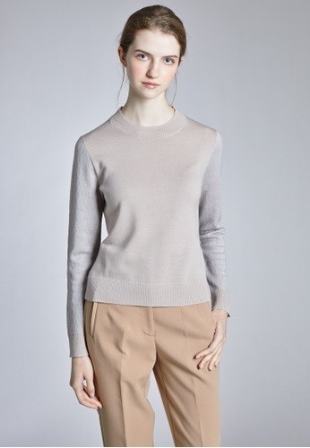 KLAPS beige Round Neck Sweater With Patterned Sleeves 304DCAA3C3D38DGS_1