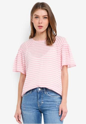 ESPRIT pink Woven Short Sleeve Blouse 20FC3AAD3D7CBEGS_1