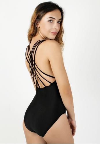 99f565bf4456 Shapes and Curves black Sexy Strappy Back One Piece Swimwear  SH408US67ARWPH_1