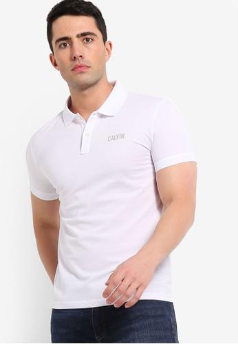 Calvin Klein 白色 反光印花POLO衫 F2CDEAA6EC942FGS_1
