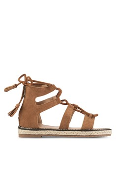 【ZALORA】 鏤空繫帶帆布涼鞋