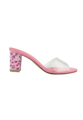 SHINE pink Slip on Floral Vinyl block Heel Sandal SH554SH75FSYSG_1