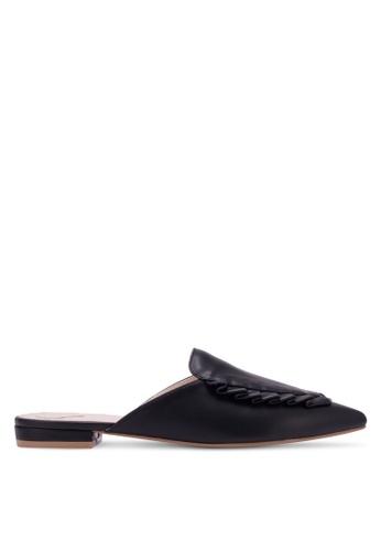 Velvet black Pleated Mule Flats 2C969SH9DF2465GS_1