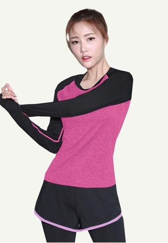 B-Code purple ZYG5097-Lady Quick Drying Running Fitness Yoga Sports Hoodie-Purple 4E718AAB8C9F57GS_1