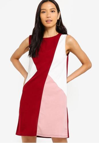 ZALORA 粉紅色 and 多色 撞色短洋裝 BC4C3AA70F3F84GS_1