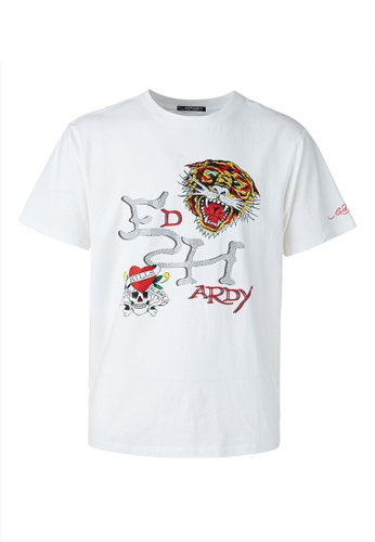 Ed Hardy white Ed Hardy Icons Rhinestone Embroidered Round Neck Comfy Tee F1F18AAC4426DAGS_1