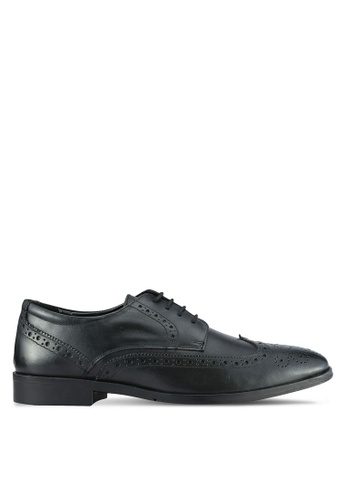 ZALORA 黑色 Soft Cowhide Leather Wing Tip Brogue Shoes 81261SH073B9DDGS_1
