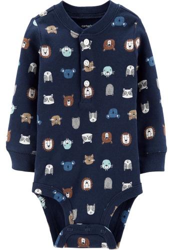 Carter's navy CARTER'S Boy Animals Slogan Long Sleeve Bodysuits DFAB3KA6D5D0F7GS_1