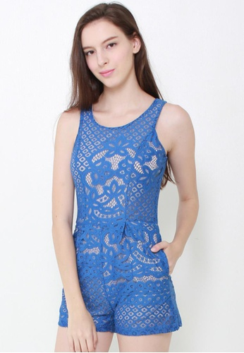 Leline Style blue Jamie Romantic Lace Romper LE802AA47GBSSG_1