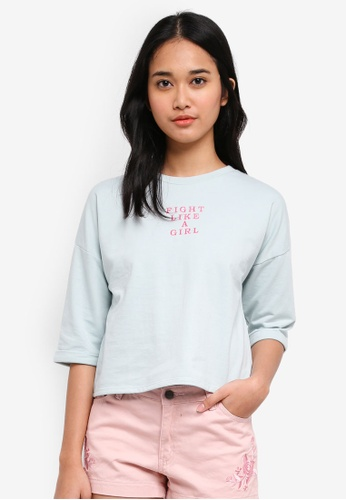 Penshoppe green Boxy Tee With Embroidered Detail F7209AA84DB0D7GS_1