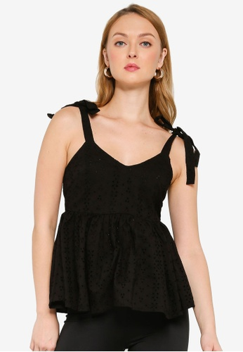 MISSGUIDED black Broderie Bow Shoulder Strappy Smock Top 858A8AAF0C3485GS_1