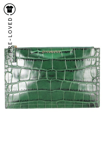 GIVENCHY green Pre-Loved givenchy Green Crocodile Embossed Pouch 2DFF3AC62FC974GS_1