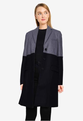 French Connection grey Erita Colourblock Felt Coat D1A3AAA245E9E7GS_1