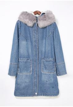 decacd1a9f9b 60% OFF A-IN GIRLS Fashion Fur Collar Warm Denim Jacket (Plus Velvet) HK   3