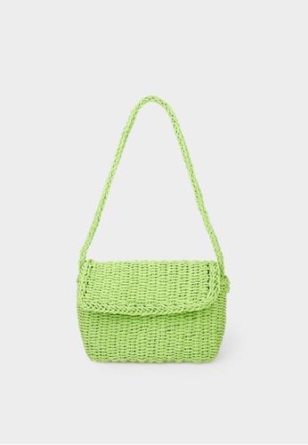 Pomelo green Woven Foldover Crossbody Bag - Green CCEADAC006DF75GS_1