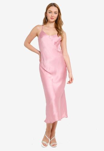 Hopeshow pink Spaghetti Strap Chiffon Maxi Dress 2B279AAD7141E5GS_1