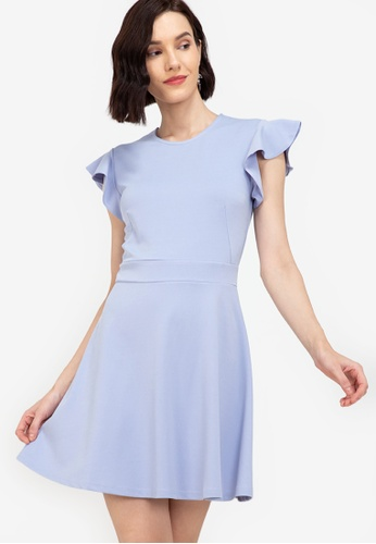 ZALORA WORK blue Flare Sleeves Fit & Flare Dress 3F216AA1D5787BGS_1