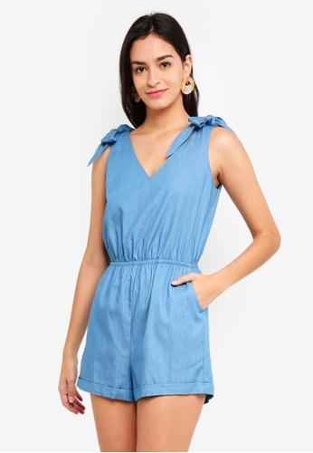 ZALORA blue Tie Shoulder Playsuit 287C1AA9547470GS_1