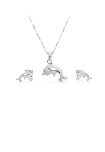 Glamorousky 白色 簡約可愛小魚316L鋼項鏈和耳釘套裝 550E6AC4E0E37CGS_1