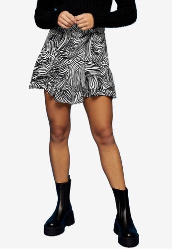 TOPSHOP multi PETITE Zebra Print Ruffle Mini Skirt 240B5AAEBB543CGS_1