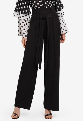 LOST INK black Fold Waist Wide Leg Trousers E0039AA86BC420GS_1