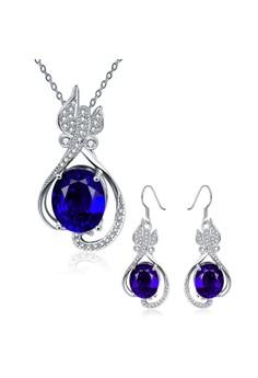 Treasure by B&D S504-C Plated Waterdrop Zircon Pendant Necklace Earrings Set Party Jewellery Set