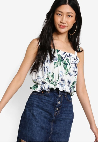 Something Borrowed white Printed Smocked Crop Top 29014AA1DB32A2GS_1